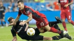 Toronto FC's Sebastian Giovinco (10) is brought down by Los Angeles FC's Dejan Jakovic during first half MLS action in Toronto on Saturday September 1, 2018. THE CANADIAN PRESS/Chris Young