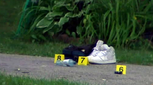 Toronto police have marked evidence found at the scene of a Scarborough fatal shooting.