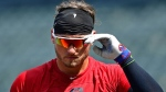 Cleveland Indians' Josh Donaldson exits the batting cage during batting practice before a baseball game against the Tampa Bay Rays, Sunday, Sept. 2, 2018, in Cleveland. (AP Photo/David Dermer)