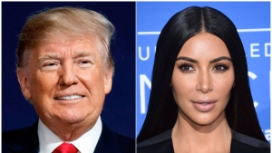 This combination photo shows President Donald Trump at a campaign rally in Moon Township, Pa., on March 10, 2018, left, and Kim Kardashian West at the NBCUniversal Network 2017 Upfront in New York on May 15, 2017. (Photo by Evan Agostini/Invision/AP)