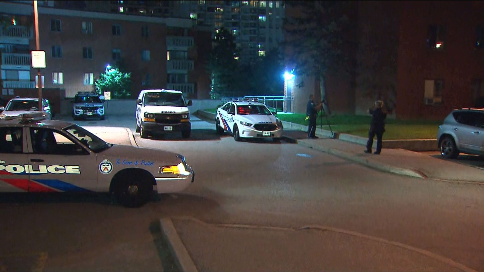 Police investigate after a shooting left one person injured in the area of Sheppard Avenue East and McCowan Road Wednesday September 5, 2018.
