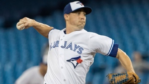 Toronto Blue Jays starting pitcher Aaron Sanchez throws against the Tampa Bay Rays in the first inning of their American League MLB baseball game in Toronto on Wednesday September 5, 2018. THE CANADIAN PRESS/Fred Thornhill