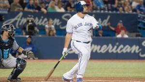 Toronto Blue Jays prospect Rowdy Tellez doubles in his first major league at bat in the sixth inning of their game against the Tampa Bay Rays in Toronto on Wednesday Sept. 5, 2018. THE CANADIAN PRESS/Fred Thornhill