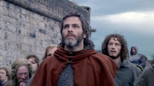 Chris Pine is seen during a scene in Outlaw King.