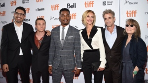 "Director Sam Esmail, from left, Jeremy Allen White, Stephan James, Julia Roberts, Dermot Mulroney and Sissy Spacek attend a premiere for ""Homecoming"" on day 2 of the Toronto International Film Festival at the Ryerson Theatre on Friday, Sept. 7, 2018, in Toronto. (Photo by Evan Agostini/Invision/AP)"