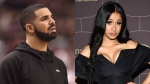 Drake and Cardi B are seen in this composite image. (The Associated Press)