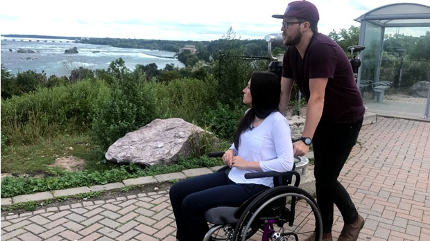 Danielle Kane and her boyfriend, Jerry Pinksen, are seen in Niagara Falls on Sept. 13, 2018. (Tracy Tong/CTV News Toronto)