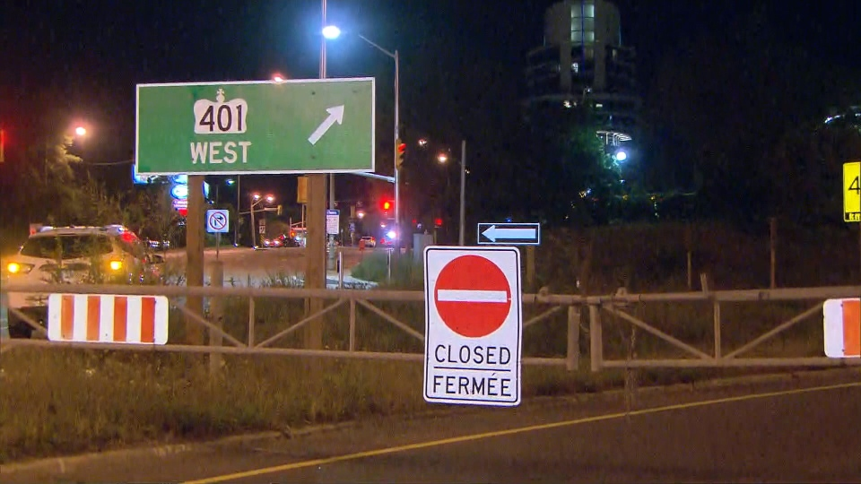 The westbound collector lanes of Highway 401 were shut down for several hours after a fatal motorcycle collision Thursday September 14, 2018.