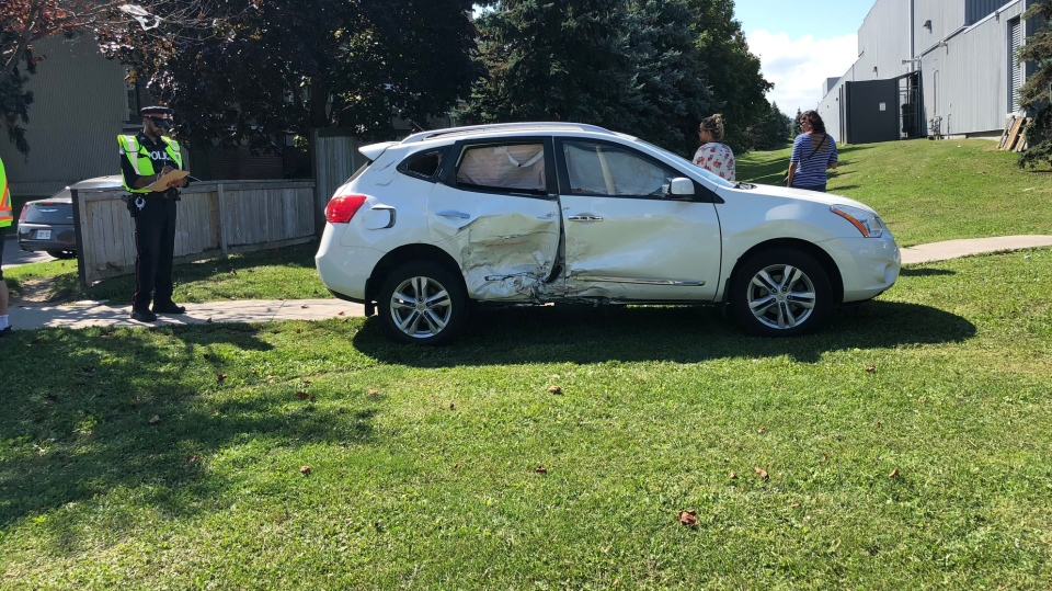 A damaged vehicle is pictured at the scene of a collision at Burnhamthorpe Road and The East Mall Friday September 14, 2018. (Peter Muscat)