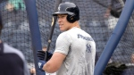New York Yankees' Aaron Judge waits to hit during batting practice before a baseball game against the Toronto Blue Jays, Friday, Sept. 14, 2018, at Yankee Stadium in New York. (AP Photo/Bill Kostroun)