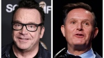 """In this combination of photos, Tom Arnold, left, attends a premiere on Oct. 10, 2017, in Los Angeles and Mark Burnett speaks during the National Prayer Breakfast on Feb. 2, 2017, in Washington. A scuffle between Arnold and Burnett a producer of """"The Apprentice"""" has led to an exchange on social media. (AP Photos)"""
