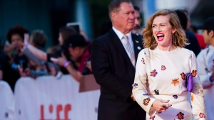 "Actress Mireille Enos poses on the red carpet for the film ""The Lie"" during the 2018 Toronto International Film Festival in Toronto on Thursday, September 13, 2018. THE CANADIAN PRESS/Nathan Denette"