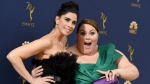 Sarah Silverman, left, and Chrissy Metz arrive at the 70th Primetime Emmy Awards on Monday, Sept. 17, 2018, at the Microsoft Theater in Los Angeles. (Photo by Jordan Strauss/Invision/AP)