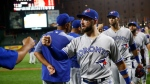Toronto Blue Jays' Kevin Pillar, center, celebrates after a baseball game against the Baltimore Orioles, Monday, Sept. 17, 2018, in Baltimore. Toronto won 5-0. (AP Photo/Patrick Semansky)