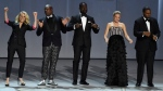 Kate McKinnon, from left, Tituss Burgess, Sterling K. Brown, Kristen Bell, and Kenan Thompson perform at the 70th Primetime Emmy Awards on Monday, Sept. 17, 2018, at the Microsoft Theater in Los Angeles. (Photo by Chris Pizzello/Invision/AP)