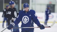 Toronto Maple Leafs forward Tyler Ennis takes a break between drills during a practice session at Maple Leafs training camp in Niagara Falls, Ont., Sunday, September 16, 2018. Ennis has had to prove doubters wrong much of his hockey life. After a mostly miserable last 12 months, the diminutive winger is hoping one more return to the well can help get his career back on track.THE CANADIAN PRESS/Aaron Lynett