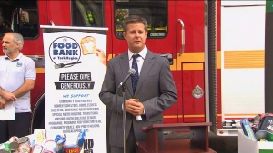 Daily Bread Food Bank CEO Neil Hetherington speaks at a news conference on Tuesday morning.