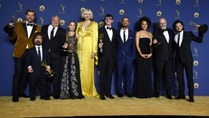 "The cast of ""Game of Thrones"" poses backstage after winning the award for outstanding drama series at the 70th Primetime Emmy Awards on Monday, Sept. 17, 2018, at the Microsoft Theater in Los Angeles. From left are, Nikolaj Coster-Waldau, Peter Dinklage, Conleth Hill, Emilia Clarke, Gwendoline Christie, Isaac Hempstead Wright, Jacob Anderson, Nathalie Emmanue, Liam Cunningham and Kit Harington. (Photo by Jordan Strauss/Invision/AP)"