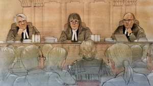 A court sketch from a hearing regarding Bill 5 on Tuesday is seen. (CTV News Toronto / John Mantha)