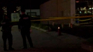 The scene of a fatal shooting in Scarborough is seen.