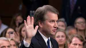 FILE - In this Sept. 4, 2018, file photo, President Donald Trump's Supreme Court nominee Brett Kavanaugh is sworn in before the Senate Judiciary Committee on Capitol Hill in Washington. (AP Photo/J. Scott Applewhite, File)