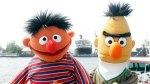 FILE - In this May 9, 2006, file photo, Ernie and Bert of 'Sesame Street' pose in front of the Queen Mary II in the harbor of Hamburg, Germany. (AP Photo/Fabian Bimmer, File)