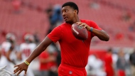 This Aug. 30, 2018 file photo, shows Tampa Bay Buccaneers quarterback Jameis Winston before an NFL preseason football game against the Jacksonville Jaguars in Tampa, Fla. A female Uber driver in Arizona is suing Winston, accusing him of sexual assault. Court documents say the woman filed the suit in Arizona on Tuesday, Sept. 18, 2018, and is seeking more than $75,000 in damage. (AP Photo/Mark LoMoglio, File)