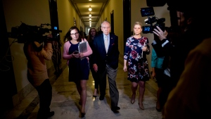 Senate Judiciary Committee Chairman Chuck Grassley, R-Iowa, departs after speaking to reporters on Capitol Hill, Wednesday, Sept. 19, 2018, in Washington. Christine Blasey Ford wants the FBI to investigate her allegation that she was sexually assaulted by Supreme Court nominee Brett Kavanaugh before she testifies at a Senate Judiciary Committee hearing next week. (AP Photo/Andrew Harnik)