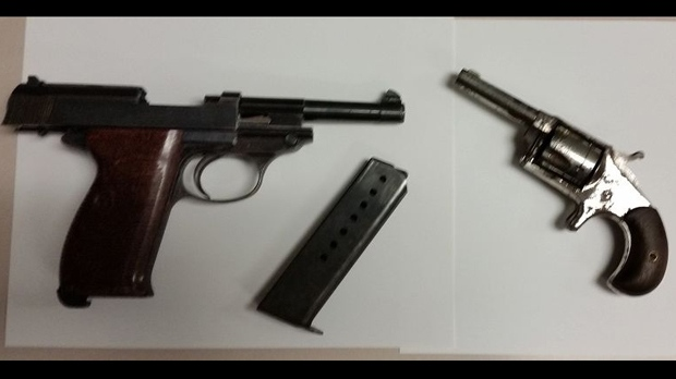 A Walther P38 9mm handgun and a .22 calibre revolver seized by police are shown. (TPS)