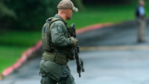 Authorities respond to a shooting in Harford County, Md., Thursday, Sept. 20, 2018. (Jerry Jackson /The Baltimore Sun via AP)