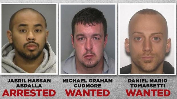 Jabril Abdalla Hassan, Michael Graham Cudmore and Daniel Mario Tomassetti are shown in a handout image from Hamilton Police.