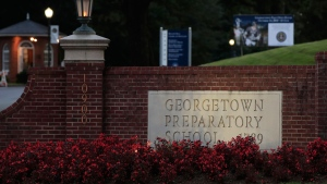 The entrance to the Georgetown Preparatory School Bethesda, Md., is shown, Wednesday, Sept. 19, 2018. Supreme Court nominee Brett Kavanaugh spent most of his teen years at the preparatory school in the 1980s. And exactly what happened one summer night during that time has become a question that threatens to unravel his chances of joining the nation's highest court. (AP Photo/Manuel Balce Ceneta)