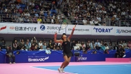 Naomi Osaka of Japan serves a ball against Barbora Strycova of the Czech Republic during the quarterfinal match of the Pan Pacific Open women's tennis tournament in Tokyo Friday, Sept. 21, 2018. (AP Photo/Eugene Hoshiko)