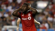 Toronto FC forward Jozy Altidore (17) reacts to an official's whistle during the second half of MLS soccer action against the Los Angeles Galaxy in Toronto, Saturday Sept. 15, 2018. THE CANADIAN PRESS/Cole Burston