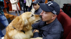 Sniffer dog Simon kisses his handler during a retirement ceremony, in Bogota, Colombia, Friday, Sept. 21, 2018. 14 dogs, including Simon, who spent the past decade sniffing for explosives, cocaine, and in search and recovery efforts, officially retired Friday in a ceremony attended by dozens of their human comrades. The Chief Prosecutor plans to put the dogs up for adoption, placing them with families that will help them to live out their retirement years in peace and tranquility. (AP Photo/Fernando Vergara)