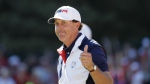 FILE - In this Oct. 2, 2016, file photo, United States' Phil Mickelson gives a thumbs-up after winning the 15th hole during a singles match at the Ryder Cup golf tournament at Hazeltine National Golf Club in Chaska, Minn. Mickelson sets a record at next week's Ryder Cup with his 12th consecutive appearance. (AP Photo/David J. Phillip, File)