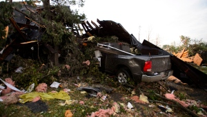 Damage from a tornado is seen in Dunrobin, Ontario west of Ottawa on Friday, Sept. 21, 2018. A tornado damaged cars in Gatineau, Que., and houses in a community west of Ottawa on Friday afternoon as much of southern Ontario saw severe thunderstorms and high wind gusts, Environment Canada said. THE CANADIAN PRESS/Sean Kilpatrick