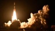 An H-2B rocket carrying the Kounotori 7 cargo spacecraft lifts off from Tanegashima Space Center in the southwestern Japan prefecture of Kagoshima, early Sunday, Sept. 23, 2018. The unmanned Japanese space capsule is heading to the International Space Station with 5,500 kilograms (12,000 pounds) of cargo including food, experiments and new batteries. (Kyodo News via AP)