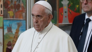 Pope Francis pays a visit to the Museum of Occupations and Freedom Fights, in Vilnius, Lithuania, Saturday, Sept. 22, 2018. Francis began his second day in the Baltics in Lithuania's second city, Kaunas, where an estimated 3,000 Jews survived out of a community of 37,000 during the 1941-1944 Nazi occupation. (AP Photo/Andrew Medichini)