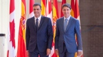 Prime Minister of Spain Pedro Sanchez, left, and Canadian Prime Minister Justin Trudeau arrive to inspect the honour guard at the Royal Canadian Hussars Armoury Sunday, September 23, 2018 in Montreal.THE CANADIAN PRESS/Ryan Remiorz