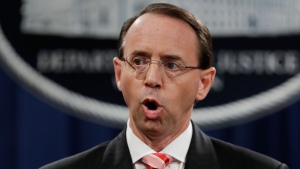 In this July 13, 2018 file photo, Deputy Attorney General Rod Rosenstein speaks during a news conference at the Department of Justice in Washington. Rosenstein is expecting to be fired, heading to White House Monday morning.(AP Photo/Evan Vucci)