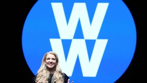 In this Feb. 7, 2018, file image distributed for Weight Watchers, Weight Watchers President and Chief Executive Officer Mindy Grossman speaks at a global employee event in New York.  (Amy Sussman/AP Images for Weight Watchers, File)