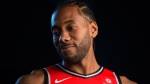 Toronto Raptors' Kawhi Leonard is photographed during a TV interview during media day in Toronto on Monday, Sept. 24, 2018. THE CANADIAN PRESS/Chris Young