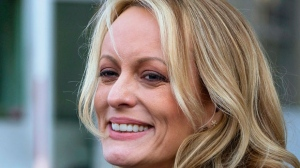 In this April 16, 2018 file photo, adult film actress Stormy Daniels speaks to members of the media after a hearing at federal court in New York. (AP Photo/Craig Ruttle)