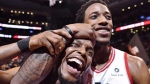 Toronto Raptors' Kyle Lowry, left, and DeMar DeRozan celebrate after defeating the Milwaukee Bucks in NBA basketball action in Toronto on Monday, January 1, 2018. Two people familiar with the situation say San Antonio and Toronto have reached an agreement in principle on a trade that will send Kawhi Leonard to the Raptors and DeRozan to the Spurs.THE CANADIAN PRESS/Frank Gunn