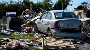 Damage from a tornado is seen in Dunrobin, Ont. west of Ottawa on Monday, Sept. 24, 2018. The tornado that hit the area was on Friday, Sept, 21. THE CANADIAN PRESS/Sean Kilpatrick