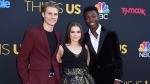 """Logan Shroyer, from left, Hannah Zeile and Niles Fitch arrive at the Los Angeles premiere of """"This Is Us"""" Season 2 in Los Angeles on Tuesday, Sept. 26, 2017. THE CANADIAN PRESS/AP-Invision, Jordan Strauss"""