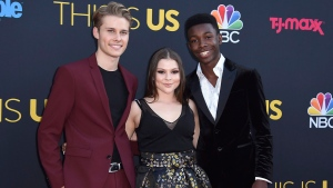"Logan Shroyer, from left, Hannah Zeile and Niles Fitch arrive at the Los Angeles premiere of ""This Is Us"" Season 2 in Los Angeles on Tuesday, Sept. 26, 2017. THE CANADIAN PRESS/AP-Invision, Jordan Strauss"