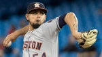 Houston Astros pitcher Roberto Osuna pitches in the ninth inning against the Toronto Blue Jays in their American League MLB baseball game in Toronto on Monday September 24, 2018. THE CANADIAN PRESS/Fred Thornhill