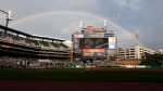 A rainbow is shown over Comerica Park before a baseball game between the Detroit Tigers and Chicago Cubs in Detroit, Tuesday, Aug. 21, 2018. (AP Photo/Paul Sancya)